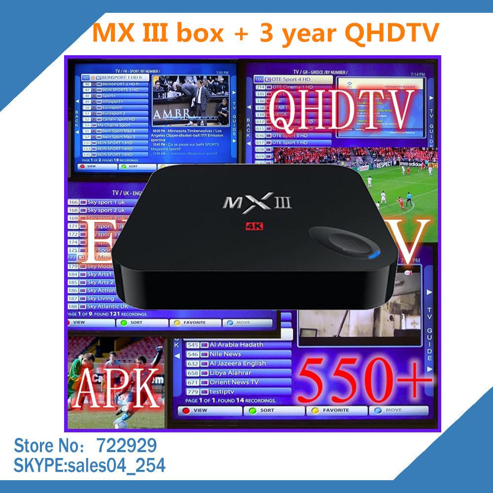 3 Year qhdtv account and MXIII MX3 Smartlife Amlogic S802 android 4.4 quad core media player 4K XBMC Bluetooth wifi 1G /8G IPTV(China (Mainland))