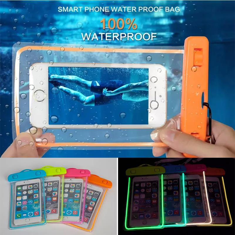 Swim Waterproof Bag Underwater Luminous Case For Samsung GALAXY NOTE 5 4 3 2 A5 A7 J5 J7 Back cover For iphone 6S 6splus 7 Plus(China (Mainland))