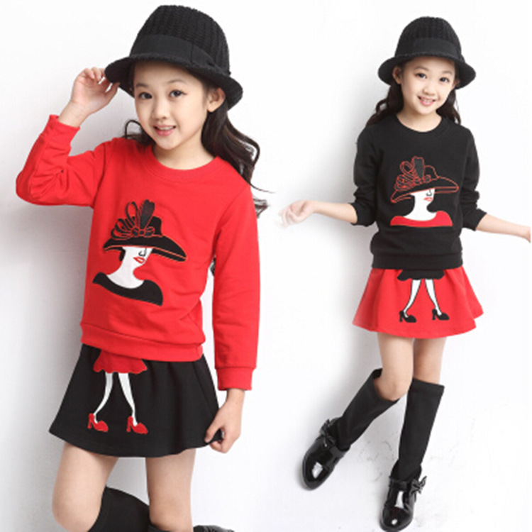 2017 New Spring Autumn Kids Girls Clothes Sets Character girl's T Shirt Cotton Skirt Children Clothing Set Suits Roupa Infantil - Yiwu Rex Guo's store