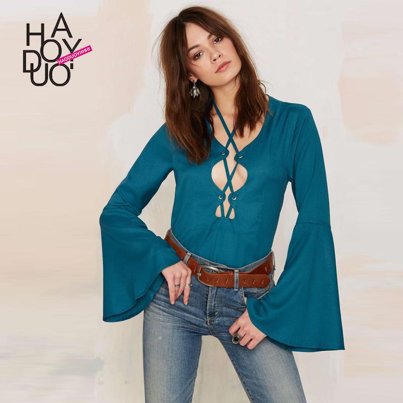 Fashion Vintage deep V-neck lacing flare sleeve top sexy halter-neck slim female shirt free shipping(China (Mainland))