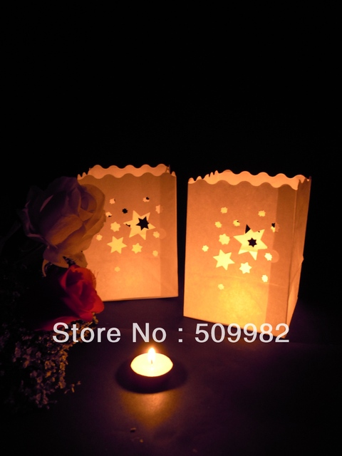 1200ps/lot+Free shipping Star Paper Candle Bag Lantern For Party Wedding Christmas Halloween New Year,Luminary candle bags