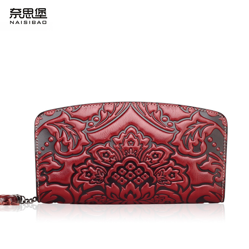 Здесь можно купить  2016 NAISIBAO Chinese Style Brand Genuine Leather Wallet Vintage Long Holding Purse Fashion Cowhide Clutch Women Wallets  Камера и Сумки