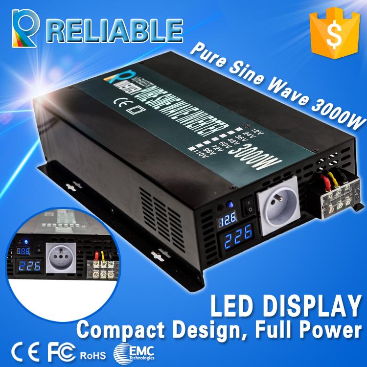 3000W Pure Sine Wave solar power Inverter 12v /24v/48vdc to 100V/110V/120v/220v/230V/240VAC Car Inverter LED Display, full power(China (Mainland))