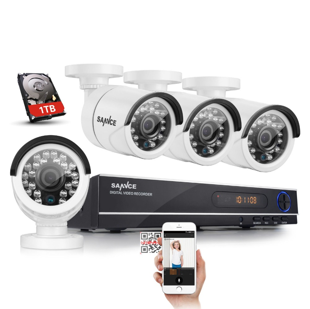 SANNCE Home Security HD 1080N 8CH DVR 4PCS 720P IR-CUT AHD CCTV Camera System 8 Channel Video Surveillance Kit With 1TB HDD(China (Mainland))