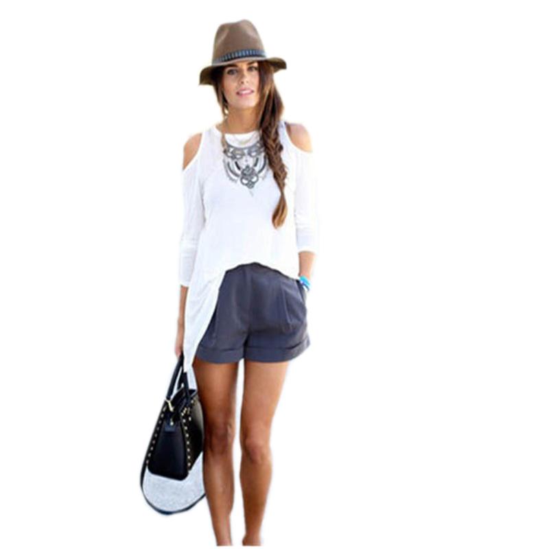 Fashion O Neck Long Sleeve White Cotton Blouse 63