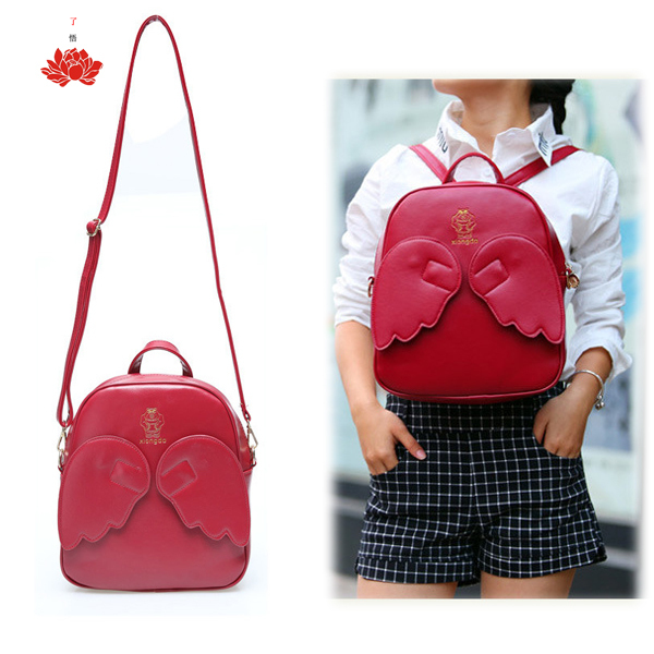 Wholesale Price Women New Novel Pu Bags Shoulders Mini Backpacks Angel Wings Back Packs feminino asa mochila for Travel School(China (Mainland))