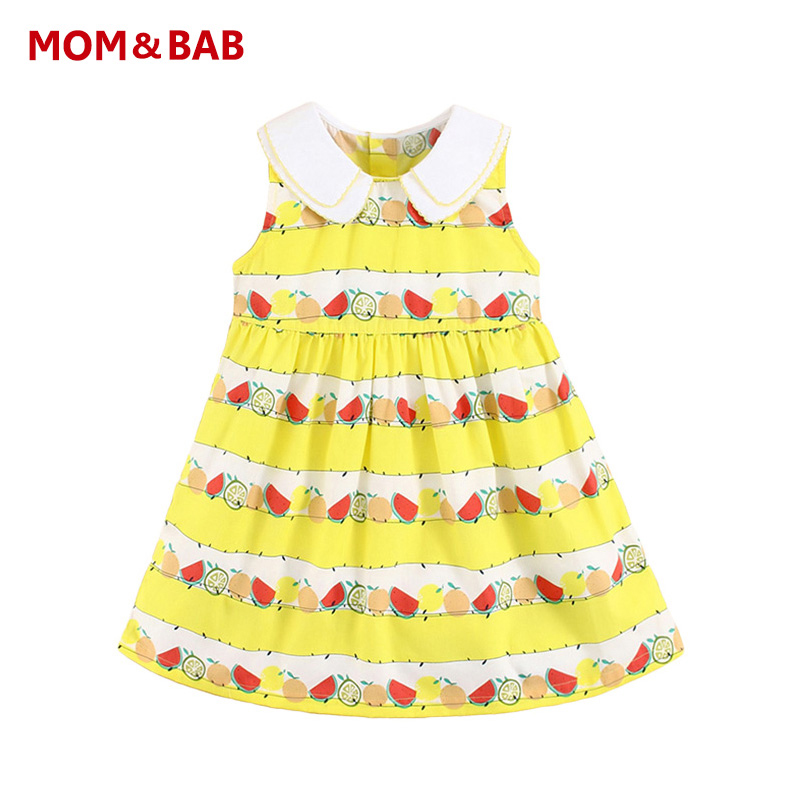 Short In Size Brand Kids Clothes Special Discount Kids Dresses for Girls Lolita Fruits Printed 100%Cotton Baby Girl Summer Dress(China (Mainland))