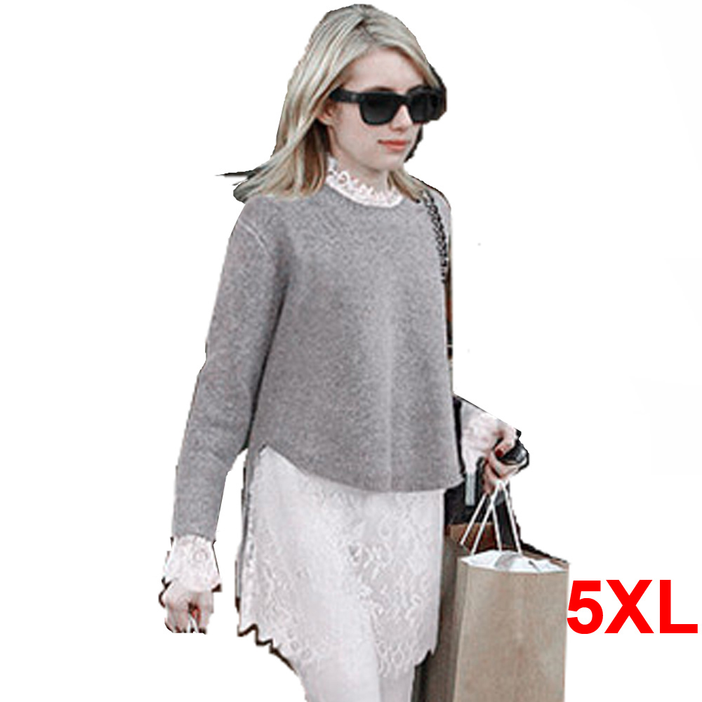 Knitting Eastern European Style : Xl plus size long sleeve women loose knitting sweater
