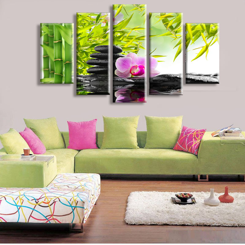 5 Panel Wall Art Botanical Green Feng Shui Orchid Oil Painting On Canvas Quartz crystal Abstract Paintings Cheap Pictures Decor(China (Mainland))