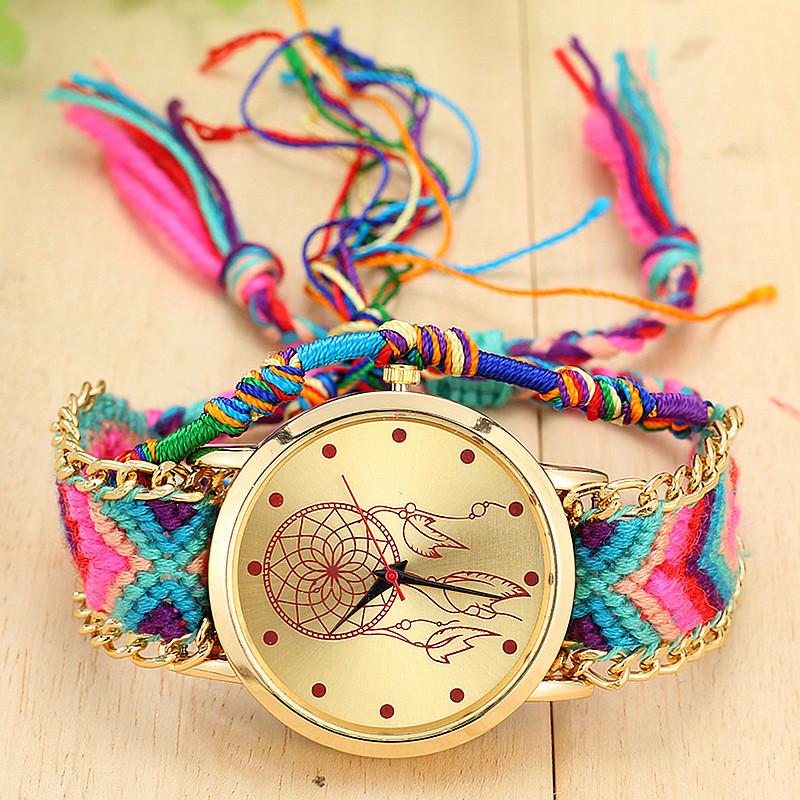 Vintage Women Geneva Watch Native Handmade Quartz Watch Knitted Dreamcatcher Friendship Watch relojes mujer 2015 BW