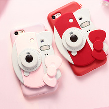 3D Silicone Pink Hello Kitty camera phone cases for iPhone 6 6S 6plus 6Splus 7 7plus since the camera photo light phone cover(China (Mainland))