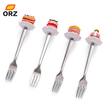 4PCS/Set Stainless Steel Forks Resin Cake Shape Cute Forks Dessert Fruit Muffin Cocktail Buffet Cutlery Flatware Dinnerware Set(China (Mainland))