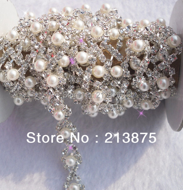 Free shipping 1 Yard costume applique rotate rhinestones 5mm white pearl silver claw trim chain Wedding dress Wedding Decoration(China (Mainland))