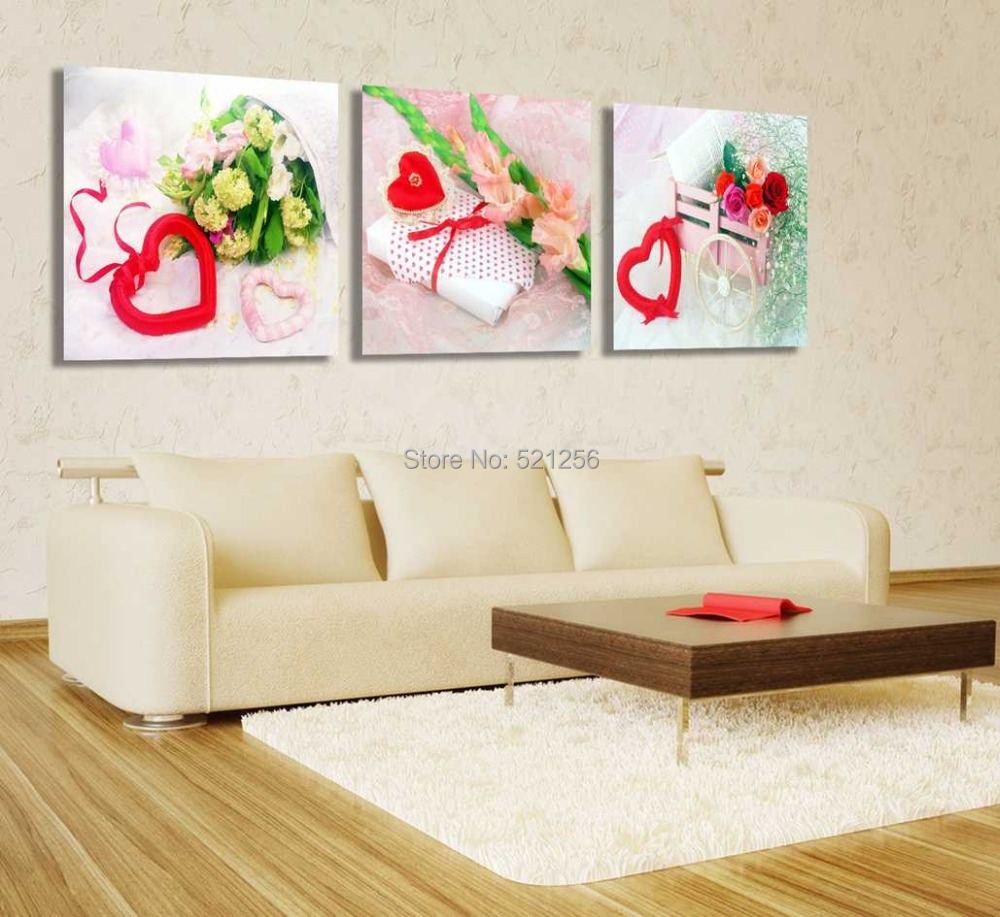 Modern Wall Art Home Decoration Printed Oil Painting Pictures Canvas Prints No Frame 3 Piece Roses Love Heart Gift Box Valentine(China (Mainland))
