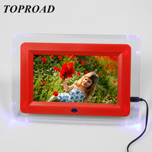 16:9 TFT 7 Inch Screen HD Digital Photo Frame Flashing Light Alarm Clock Video Player Picture Frame Support MP3 MP4 USB SD Card