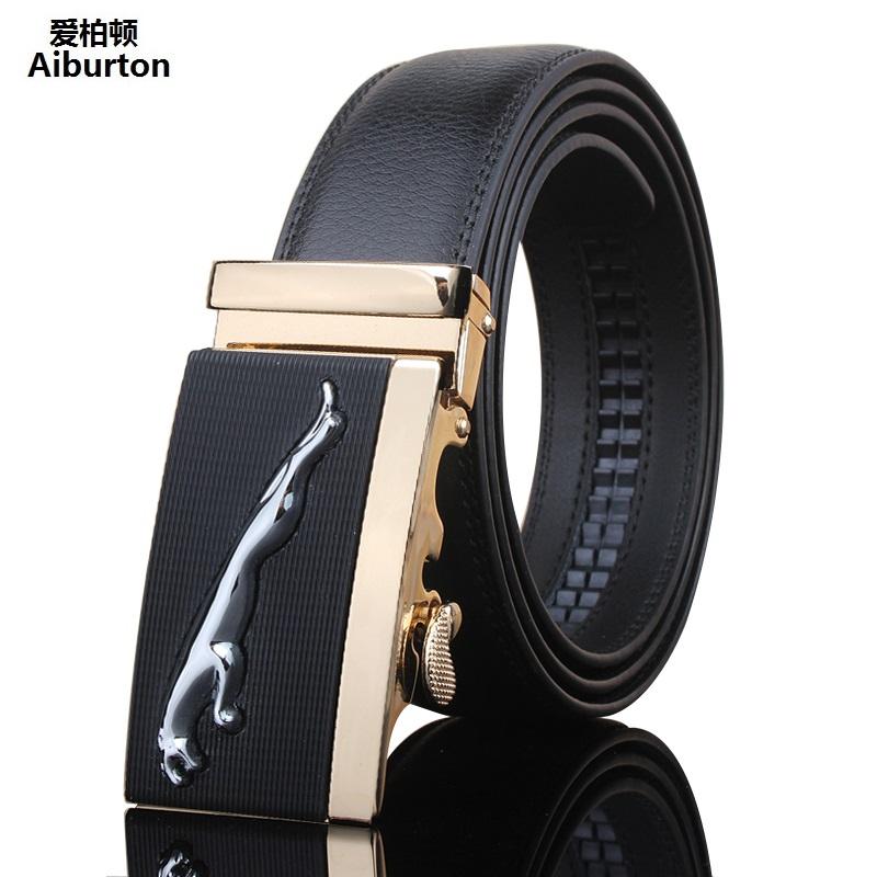 2016 New Leather Designer belts men hgih quality Jaguar Embellished Metal Automatic Buckle Black Wide man belt golden silver(China (Mainland))
