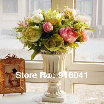 7 heads/PC Free Shipping Chinese Herbaceous Peony DecorativeFlower Artificial Flower Wedding Flower Party Event Christmas Party