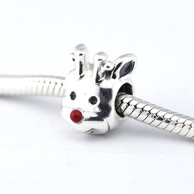 925 серебряные ювелирные изделия бусины рождество красный нос оленей Ename бусины Fit подвески пандора браслет DIY мода ювелирных изделий серебро