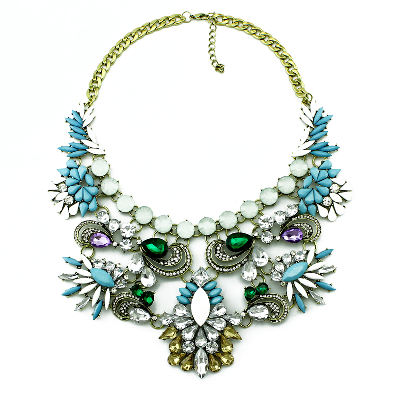 2014 New High quality ZA Brand Necklaces & Pendants Color Crystal Collar Statement Necklace Women Jewelry()