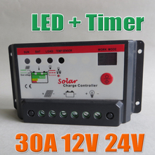 30A 12V 24V Auto Solar Battery Charge Controller with timer,30Amps lamp regulator for LED street lighting or solar home system(China (Mainland))