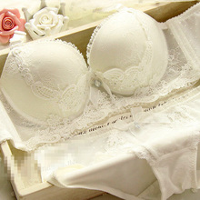 2016 solid adjustable push up bras set white lace sexy sweet 3/4 cup bra women underwear set free shipping.(China (Mainland))