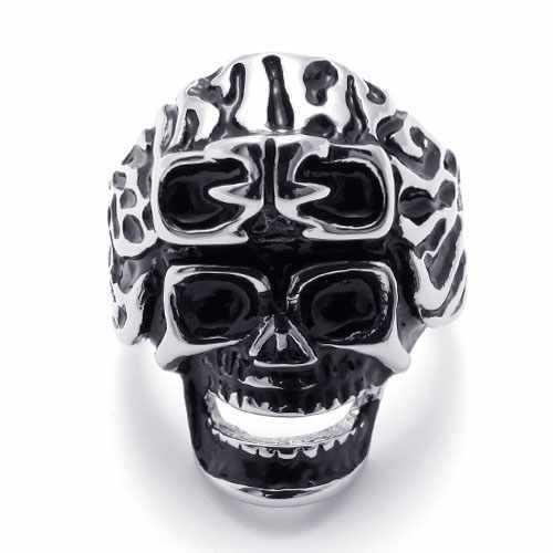 Punk Accessories Titanium Stainless Steel Ring Black Grain With Skeleton Skull Heads Men Rings Wedding Engagement Rings 20208(China (Mainland))
