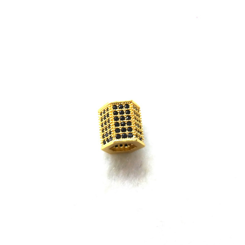 New Arrived! Mirco Pave black Hexagonal Shape Brass Metal Bead CZ Beads Jewelry DIY Beads for Jewelry Making Black/Silver/Gold(China (Mainland))