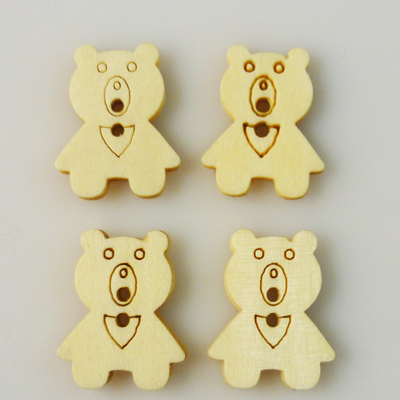 40PCS 15*20MM Bear wood cartoons buttons coat boots sewing clothes accessories WCB-017(China (Mainland))