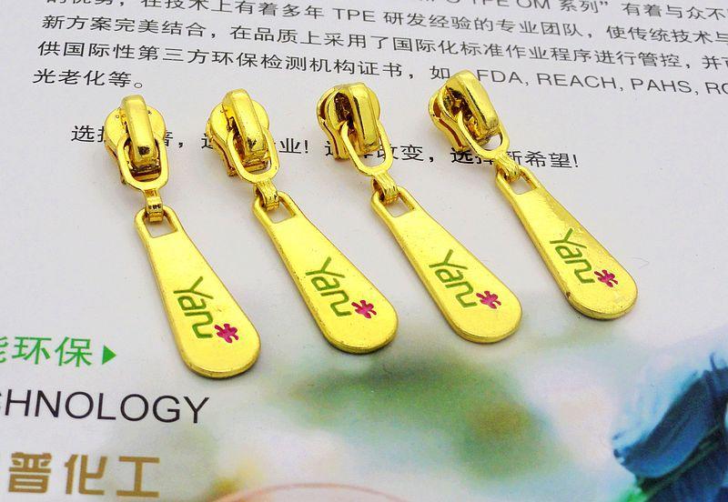 Free shipping 3# metal zipper sliders for repair sewing diy handbags children clothes golden 10pcs/lot auto lock zipper head(China (Mainland))