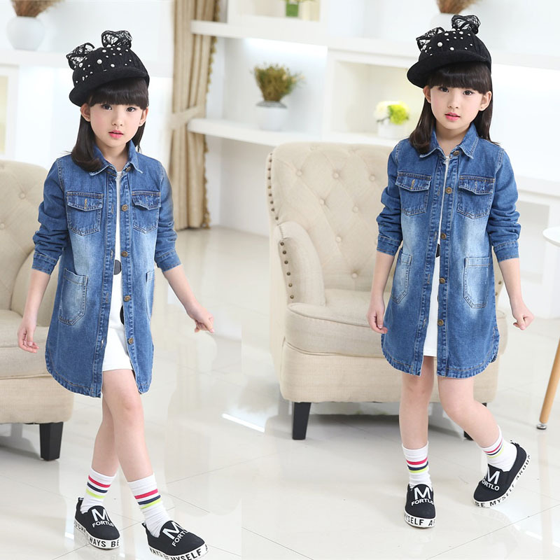 New spring and summer 2016 children Jeans Girls Child Korean long denim jacket wholesale one generation<br><br>Aliexpress