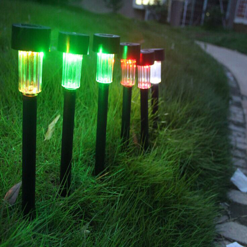decorative garden landscape in lawn lamps from lights lighting on