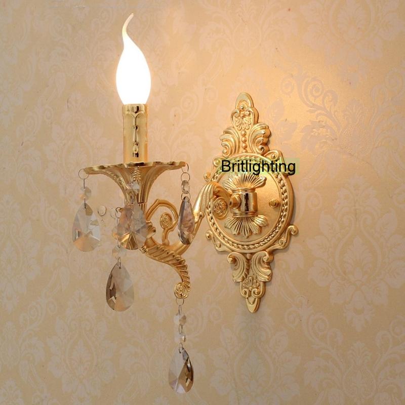 Buy bedside led wall lights vanity light luxury gold wall lamp bathroom for Crystal bathroom vanity sconces
