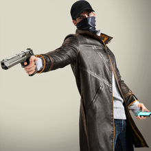 Watch Dogs Aiden Pearce Cosplay Synthetic Leather Windbreaker Trench Motorcycle Winter Coat Gift C396(China (Mainland))