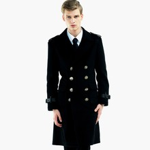 Overcoat For Male Double Button Belt Decoration Long Sleeve Blending Woolen Clothing Large Size Ultra Long Outwear MSTS15(China (Mainland))