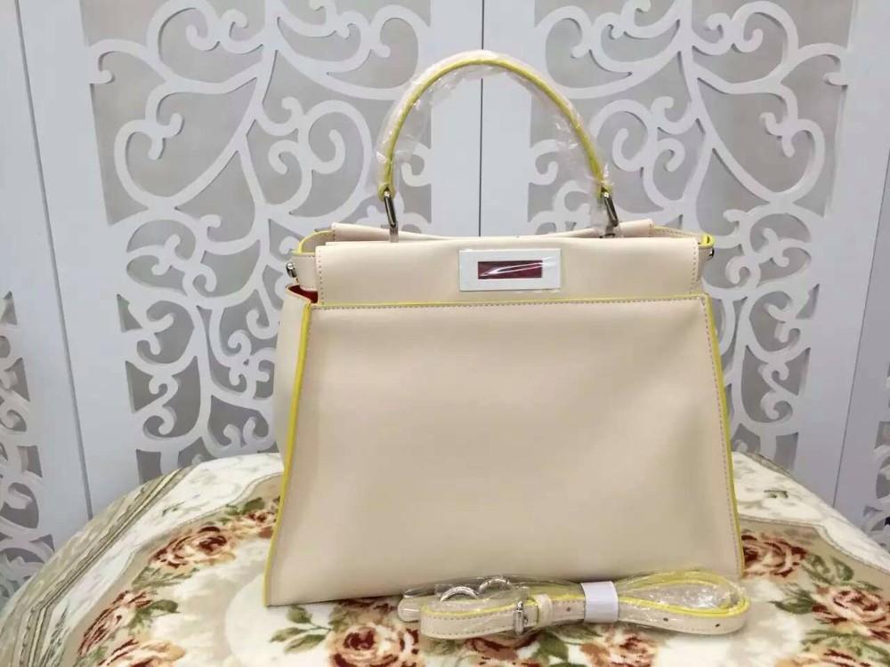 Fashion 2016 Luxury Peekaboo Outside Sewed Women Genuine Leather Tote C Brand F New Design Messenger Bag Lady Handbags(China (Mainland))