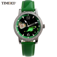 TIME100 Fashion 12 Constellation Aries Automatic Self-wind Mechanical relojes Leather Band Women Skeleton Watches reloj mujer