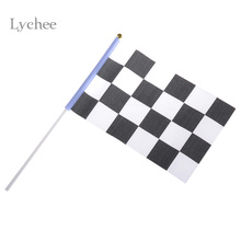 5 Pieces/Lot Checkered Flag Hand Signal Flags Black and White Chequered F1 Racing Flag Celebration Craft