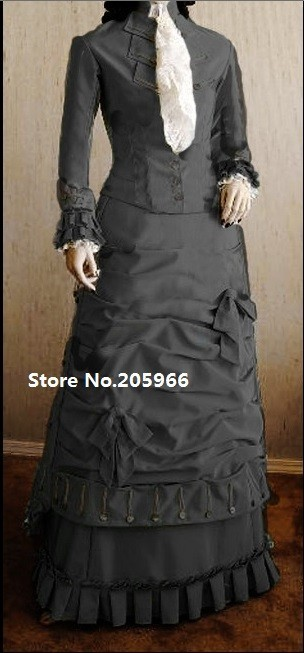 Free Shipping SASS 1877 Victorian Natural Form Grey Taffeta Bustle Dress Costume/Event Costume/Function Costume(China (Mainland))