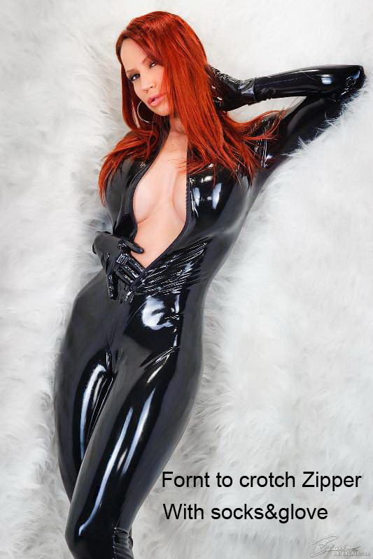 Sexy Black Catwomen Jumpsuit Spandex Latex PVC Catsuit with gloves and socks Costumes for Women Body Suits Fetish Leather Dress(China (Mainland))