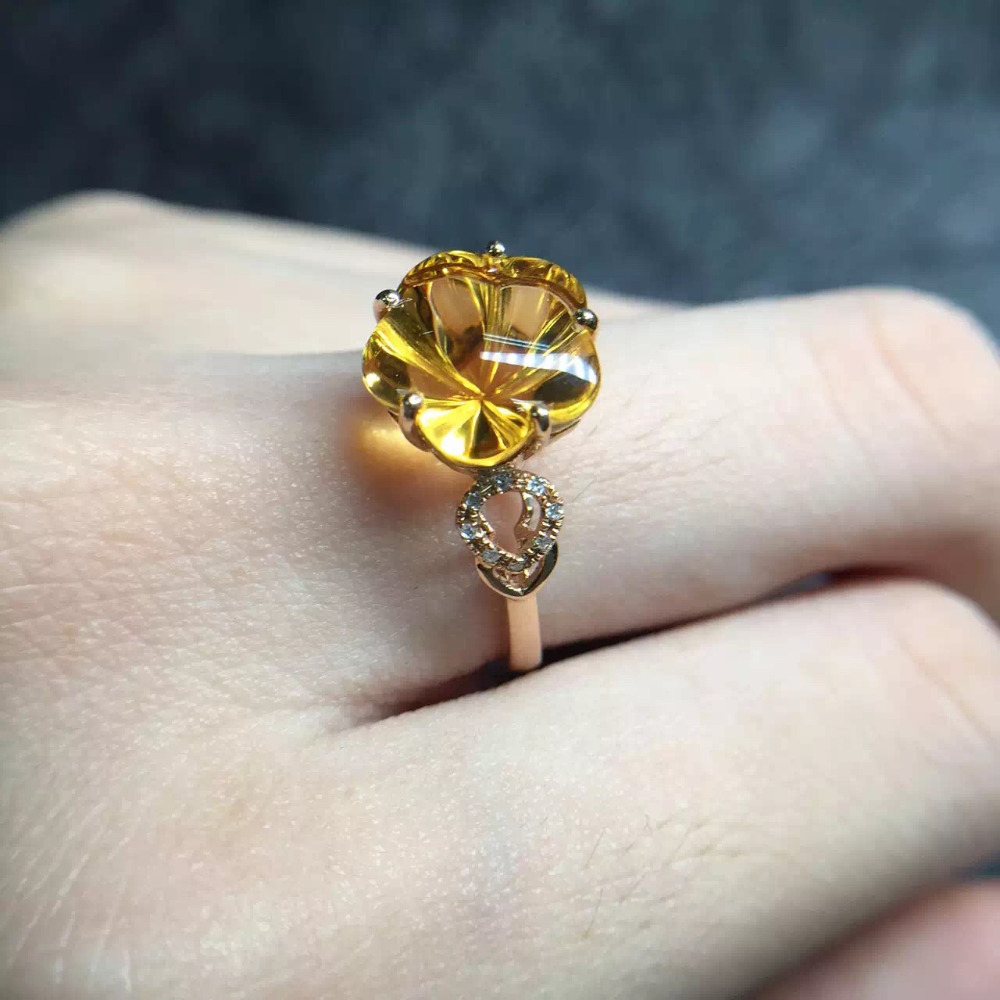 clover 10.5mm fine jewelry affordable good for money clean real 18K Gold natural citrine Ring for women fine jewelries(China (Mainland))