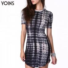 YOINS 2016 New Style Bodycon Irregular Print Sexy Mini Dress Ladies Vintage Short Sleeve Slim Dresses Plus Size Woman Dress(China (Mainland))