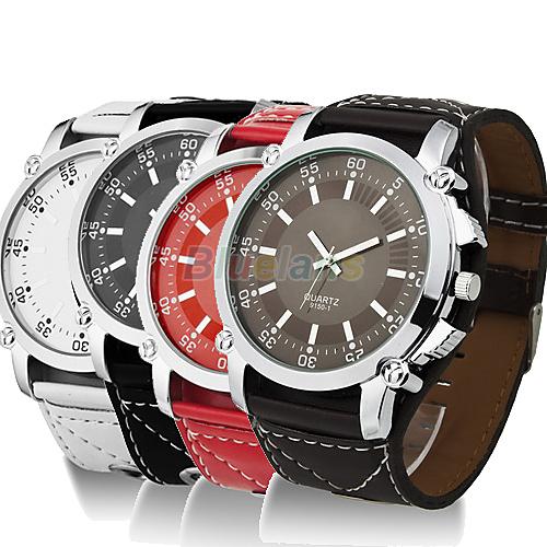 Min 16 New Fashion Luminous Men Watches Male Faux Leather Oversized Quartz Hands Wrist Watch Vintage