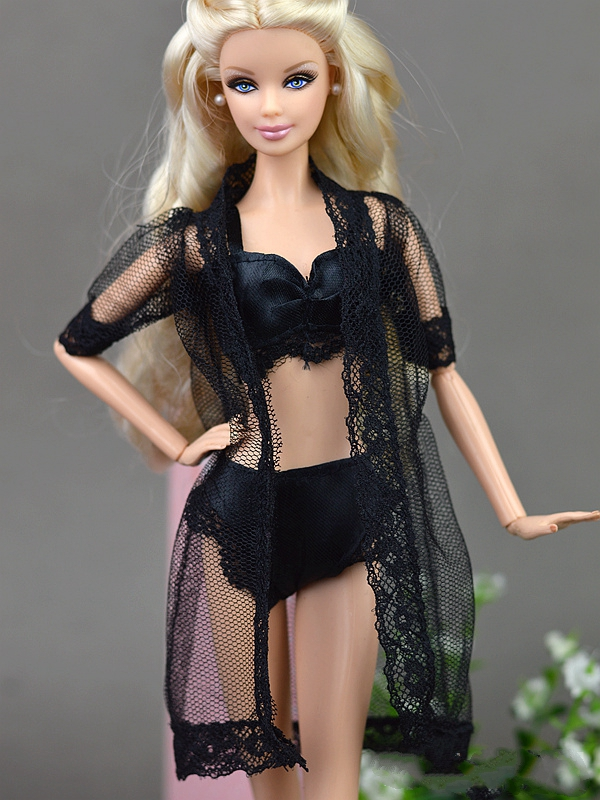1SET Doll Equipment Black Horny Pajamas Lingerie Nightwear Lace Lengthy Coat Night time Put on + Bra + Underwear Garments For Barbie Doll