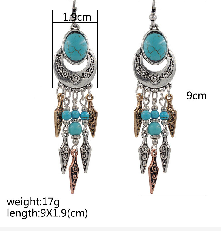Bohemian Vintage Silver Turquoise Gem Stone Multicolored Metal Feather Long Ethnic Earrings Pendientes Largos Summer Jewelry - Fascinating store