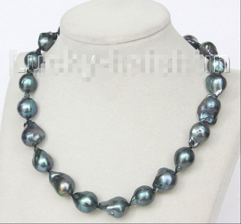 FREE shipping&gt; &gt;&gt;&gt;NEW 17 20mm Baroque black-blue Reborn keshi pearls necklace j10364<br><br>Aliexpress