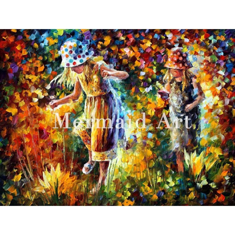 Buy Hand Painted Landscape High Quality Abstract Palette Knife Kiss Of Passion Oil Painting Canvas Wall Decoration Living Room cheap