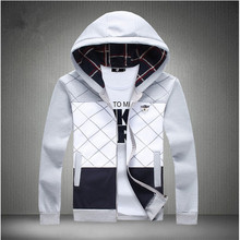 2015 New Autumn Mens Fashion Slim Hooded Hoodies Pullover Sweatshirt Tops Male Casual Zipper Tracksuit Coat Outwear Size M~5XL