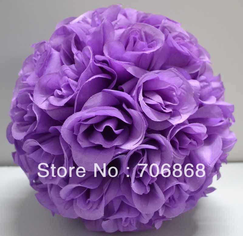 Light Purple Color Artificial silk kissing rose flower ball 30cm outer diameter 10pcs/lot wedding Church decoration(China (Mainland))
