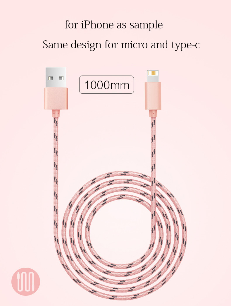 Joyroom Mobile USB Cable Nylon Skin for iPhone 6 6s Plus 5s SE iPad mini / Micro for LG Samsung Sony Xiaomi / TYPE-C / 2in1