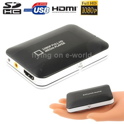 Mini Full HD 1080P HDMI MultiMedia HDD player with SD/MMC/SDHC Card reader/HOST USB Function, External HDD, Size: 85x55x10mm(China (Mainland))